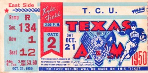 1950 texas am aggies tcu football ticket stub art kyle field college station by Row One Brand