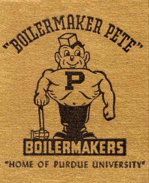 1950s purdue university vintage boilermaker pete art by Row One Brand