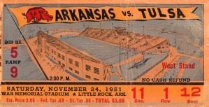 1951 arkansas razorbacks tulsa college football ticket stub wall art sports gift by Row One Brand