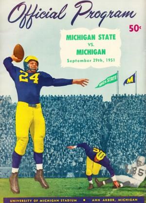 1951 michigan football program canvas art by Row One Brand