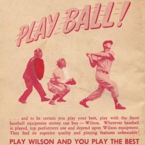 1951 vintage wilson baseball ad play ball by Row One Brand
