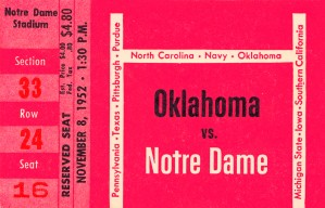 1952 Oklahoma vs. Notre Dame 1st National TV Game by Row One Brand
