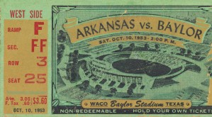 1953 arkansas baylor football ticket wall art by Row One Brand