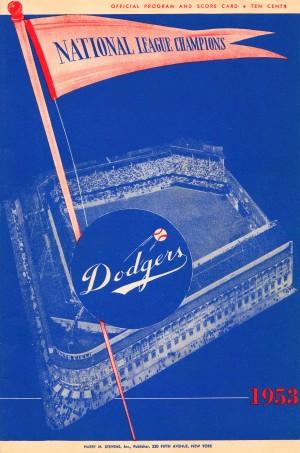 1953 brooklyn dodgers score card by Row One Brand