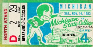 1953 michigan state spartans football ticket stub canvas art by Row One Brand