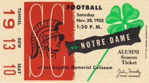 1953 usc notre dame football ticket stub print poster vintage metal sports tickets row 1 by Row One Brand