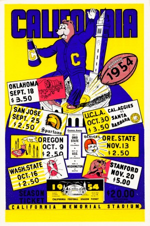 1954 cal bears vintage football ticket schedule poster college sports art row one brand by Row One Brand