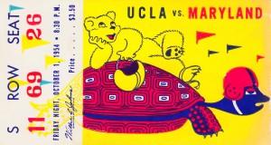 1954 ucla bruins football ticket stub maryland friday night vintage cartoon art poster retro college by Row One Brand