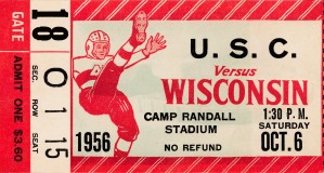 1955 usc wisconsin college football ticket stub stretched canvas art by Row One Brand