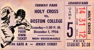 1956 holy cross boston college ticket stub canvas fenway park by Row One Brand
