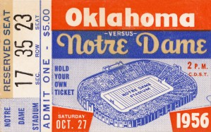 1956 oklahoma notre dame college football ticket stub wall art by Row One Brand
