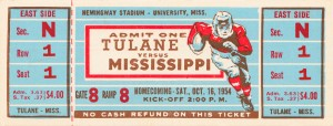 1954 ole miss rebels football ticket canvas art by Row One Brand