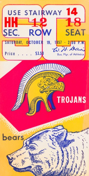1957 cal bears usc trojans california memorial stadium football ticket art sports gift idea by Row One Brand