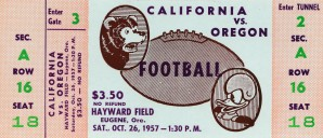 1957 california oregon ducks college football ticket stub reproduction print by Row One Brand