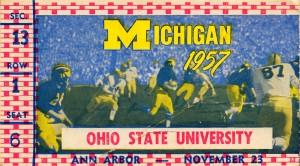 1957 michigan ohio state buckeyes football ticket canvas wall art by Row One Brand