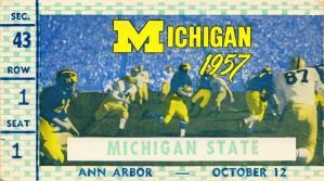 1957 michigan wolverines msu spartans football ticket stub art by Row One Brand