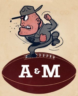 1957 vintage texas am aggies football art by Row One Brand