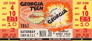 1957_College_Football_GeorgiaTechvs.Georgia_GrantField_FullUntornTicketStub by Row One Brand