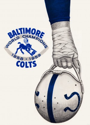 1958 baltimore colts world champions poster by Row One Brand