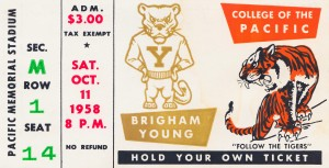 1958 college of the pacific brigham young football ticket art by Row One Brand