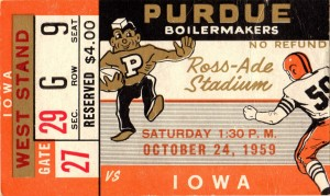 1959_College_Football_Purdue vs. Iowa_Ross Ade Stadium_Row One Ticket Stub Art by Row One Brand