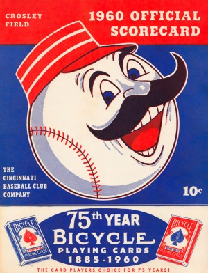 1960 cincinnati reds scorecard metal sign baseball art prints wood sports posters retro by Row One Brand