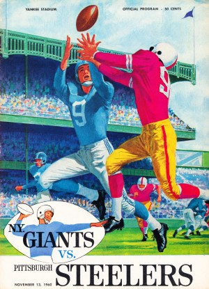 1960 new york giants program cover print on wood by Row One Brand