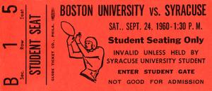 1960 Syracuse Football Ticket Wall Art by Row One Brand