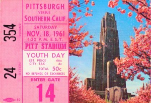 1961 usc pitt panthers football ticket stub poster print metal wood tickets by Row One Brand