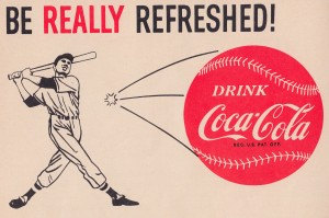 1961_Coke Ad_Best Vintage Coca Cola Ads_Baseball Ad Reproduction Poster by Row One Brand