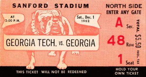1962 georgia football ticket stub canvas art by Row One Brand
