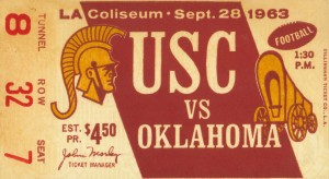 1963_College_Football_Oklahoma vs. USC_Los Angeles Coliseum_Row One by Row One Brand