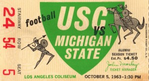 1963_College_Football_USC vs. Michigan State_Los Angeles Coliseum_Row One by Row One Brand