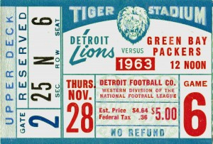 1963_National Football League_Green Bay Packers vs. Detroit Lions_Tiger Stadium_Row One Brand Ticket by Row One Brand