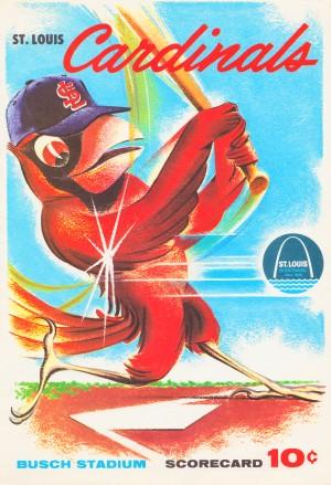 1964 st louis cardinals busch stadium scorecard baseball art by Row One Brand