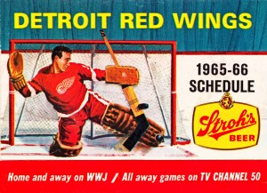 1965 detroit red wings vintage schedule wall art by Row One Brand