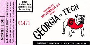 1966 georgia bulldogs football ticket student gate by Row One Brand