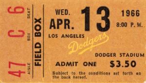 1966 la dodgers baseball ticket stub canvas art by Row One Brand