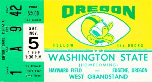 1966 oregon ducks football ticket stub canvas art (1) by Row One Brand