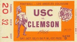 1966_College_Football_USC vs. Clemson_Los Angeles Coliseum_Row One by Row One Brand
