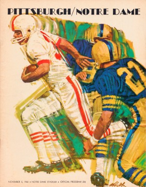 1966_Pittsburgh_Notre_Dame_Football_Program_Cover_Art_Framed_Print_Poster_Metal_Sign_Wood_Sports_Art by Row One Brand