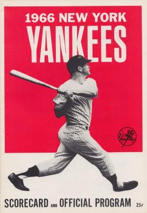 1966_new york yankees score card program baseball art vintage poster by Row One Brand