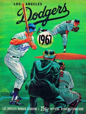 1967 la dodgers scorecard dodger stadium vintage baseball poster metal sign wood prints sports art by Row One Brand