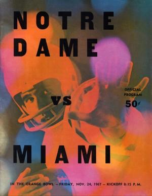 1967 notre dame miami hurricanes football program wall art by Row One Brand
