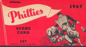 1967 philadelphia phillies score card poster print art reproduction vintage baseball by Row One Brand