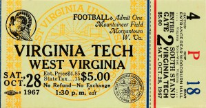 1967 west virginia university football ticket stub poster wall art by Row One Brand