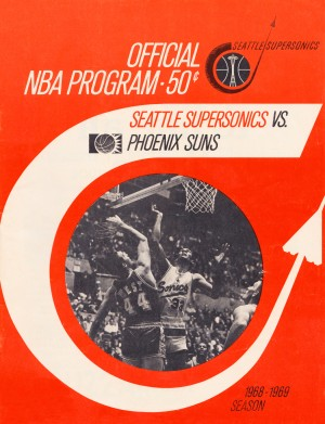 1968 seattle supersonics program cover art sports poster by Row One Brand