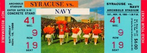 1968 syracuse navy college football ticket stub art poster vintage canvas metal tickets row 1 by Row One Brand