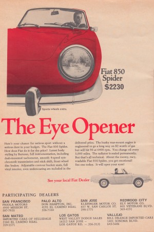 1969 fiat spider advertisement vintage car ad posters by Row One Brand