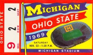 1969 michigan ohio state football ticket art ann arbor gift idea by Row One Brand